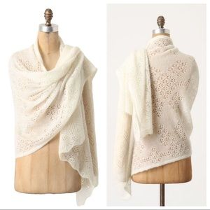 Anthro Angel of the North Ivory Shawl Wrap S/M